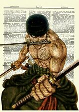 Roronoa Zoro One Piece Anime Dictionary Art Print Poster Picture Manga Book