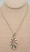 Vintage 60s rhinestone black silver tone Mod pendant Necklace