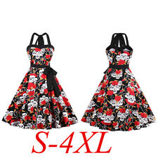 Skull Roses Punk Party Dress Vintage Plus Size 50's Swing Retro Dress Rockabilly