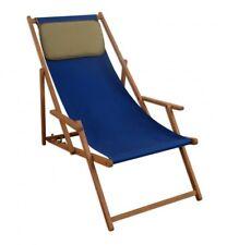 Transat pour Jardin Hêtre Lit Soleil Terrasse en Bois Bleu avec Coussins 10-307