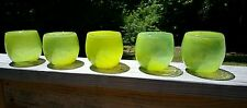5 Hand Blown Ball Round Glass Neon EctoPlasm Green Drinking Glasses Sphere Mod