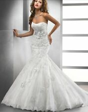 Sexy Mermaid White/Ivory Bridal Ball Gown Wedding Dress Custom 6 8 10 12 14 16