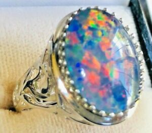 LARGE SOLID 9C Natural Black Opal signet ring 8 FIRE Australian Fire Q