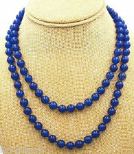 """Genuine Natural Sapphire Blue Jade 36"""" Long 10mm Bead Stranded Necklace"""