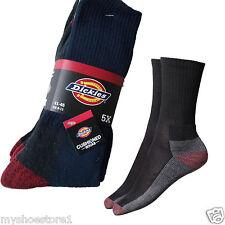 Dickies Crew Work Socks 5 Pairs Walking Hiking Cushion Soles Black Size UK 6-11