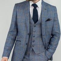 Men's Brendan Blue 3 Piece  Tweed Check Suit Slim Fit - Peaky Blinder-new