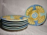 Bella Ceramica Seashell Soup Bowls Dishes 7 Rimmed Cereal Salad Beach Ocean 9""