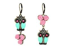 New Betsey Johnson Women's Earrings Dangle Owl Crystal Vintage Look Roses