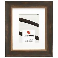 """Craig Frames Aristocrat, 1.6""""Distressed & Gold Copper Picture Frame With a Mat"""