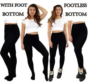 Women Thermal Tights Thick Black Winter Warm Stretchy Footless & With Foot Tight