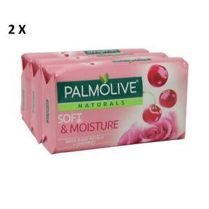 2 X 3 PACK PALMOLIVE NATURALS SOFT & MOISTURE ROSE PETALS AND CHERRIES