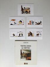 TINTIN DANS LE METRO + 5 CARTES POSTALES FRESQUE 1990 / HERGE / STEEMAN / STIB