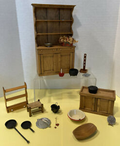 Vintage Primitive Furniture & Smalls Many Handcrafted Dollhouse Miniature 1:12