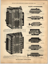 1894 PAPER AD Flute Accordion Accordeon Harmonica Concertinas Celestina