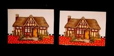 Handcrafted fridge magnet w/Mary Engelbreit Art House/Cottage set of 2