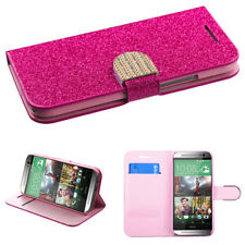 HTC ONE M8 WALLET CREDIT CARD CASE COVER PROTECTION PINK GLITTER DIAMONDS