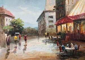 Small Town,Original Oil Painting, Hand Painted, 61 X 91 cm