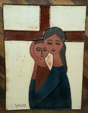 """Yair Cohen Israel Ceramic Art Tile """"Mary and Jesus"""" - Judaica Wall Plaque"""