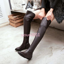 Casual Flat Womens Over The Knee Thigh High Boots Side Zipper Buckle Size 4-11