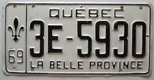 Quebec 1969 License Plate NICE QUALITY # 3E-5930