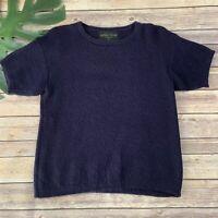 Alpaca Trunk Womens Short Sleeve Sweater Size L Wool Dark Purple Made in Peru
