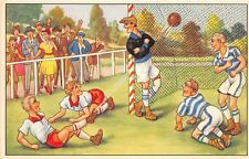 C99/ Sports Postcard? Soccer Football Futball Comic 1960s Goal Players 11