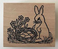 "Rubber Stamp Bunny Egg Nest T203 Easter Springtime 2.5 x 3"" Azadi Earles"