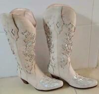 Womens Western Cowboy Mid Calf Rhinestone Pull On Pointed Toe Chunky Heel Boots