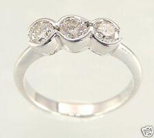 18K White Gold 0.75 Carats Round Diamond Three Stone Anniversary Ring