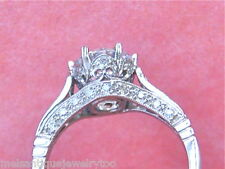 ANTIQUE STYLE DIAMOND PLATINUM ENGAGEMENT RING MOUNTING for 6.5, 7.5, 8mm center