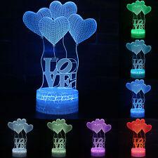3D LOVE Heart LED Night Light Illuminate Touch USB Table Desk Lamp Xmas Kid Gift