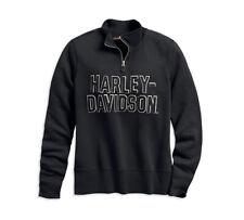 HARLEY-DAVIDSON FELT LETTER BLACK WOMENS ¼ ZIP SWEATSHIRT 99286-19VW L
