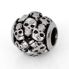 Stainless Steel Skull European Bead Halloween Charm For European Charm Bracelets