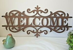 Hamptons Style WELCOME Metal Wall Sign Rustic French Country Decorative Plaque