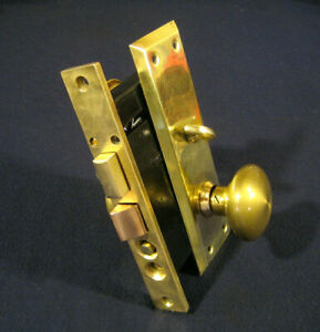 Antique Entry Mortise Lock Brass Knobs Cylinder Key Skillman #8882 -Refurbished-