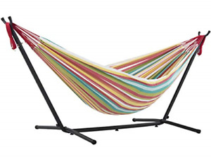 Vivere Double Cotton Hammock with Space-Saving Steel Stand Including Carrying