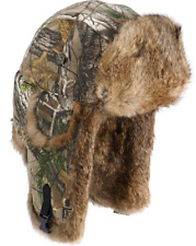 Mad Bomber Realtree Camo Rabbit-Fur Trapper Hunting Hat - LARGE