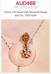 Genuine Pandora 14ct Gold Diamond Dangle Flower Charm - 750376DN, Retired.