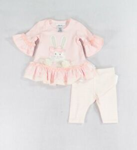 Bonnie Baby Baby Girls Outfit Set Pink Size 3-6 Months Bunny 2-Pc $32 484