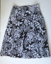 Flared Full Maxi Calf Length Casual Monochrome Floral SKIRT - LINEN BLEND SZ 14