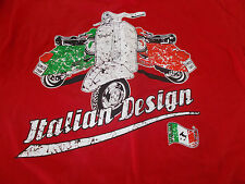 VESPA - ITALIAN DESIGN RED T-SHIRT - SMALL - SCOOTER - MOD - SEE DESC FOR SIZING