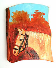 Wooden Wall Hanging handmade home decoration, image of a horse in the woods