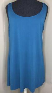 Eileen Fisher Turquoise Silk Tunic Tank Top Women L