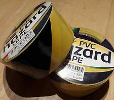 2 HAZARD WARNING TAPE 50MM X 33M Black AND Yellow PVC Roll Caution Adhesive