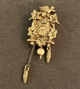 Vintage 14K Yellow Gold Cuckoo Clock Pendant With Moving Pendulum