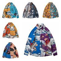 Men Loose Spliced Shirt Japanese Print Crane Coat Long Sleeve Ukiyoe Top Fashion