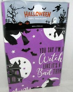 HALLOWEEN Vinyl Tablecloth Assortment YOU SAY I'M A WITCH .........[Your Choice]