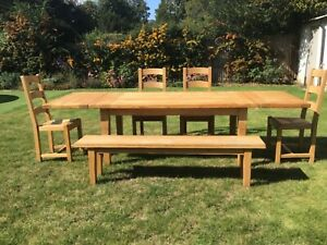 Solid Oak French Farmhouse Extendable table with 4 chairs and Bench