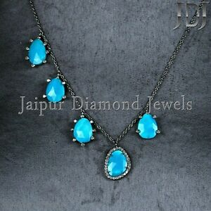 NEW Natural Diamond Turquoise Necklace 925 Silver Gemstone Jewelry Gifts for Her