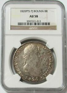 1820 PTS PJ SILVER BOLIVIA 8 REALES NGC ABOUT UNC 58 FERDINAND VI